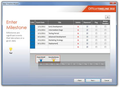 create project timelines in powerpoint 2010 with office