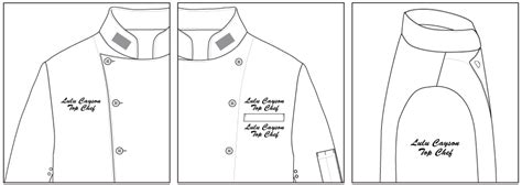 embroidery design placement crossover collar chef jacket