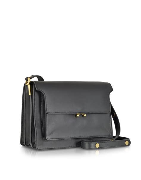 Marni Oversized Crinkle Handbag by Lyst Marni Large Leather Trunk Bag In Black