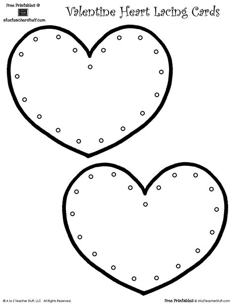 lacing card templates coloring hearts for healthy month coloring pages
