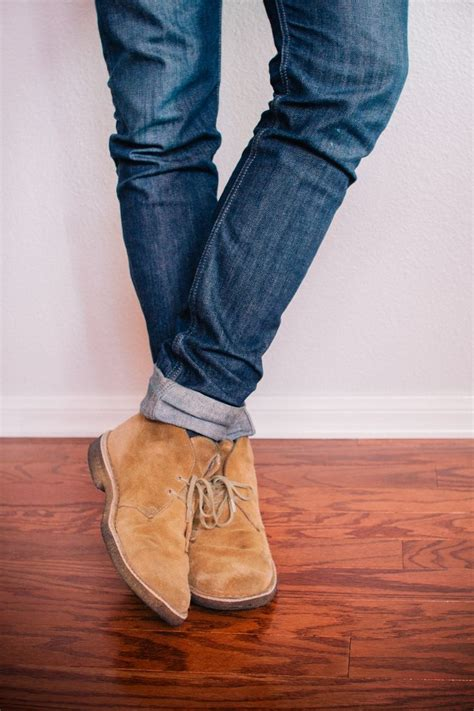 khakis and boots cuffed denim with suade desert boots pictures