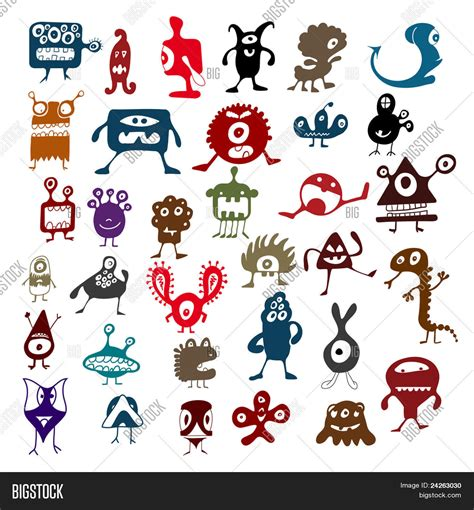 many doodle monsters images many doodle monsters stock vector stock photos