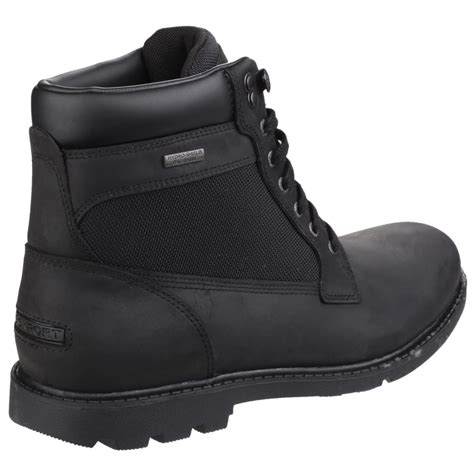 rockport rugged bucks waterproof lace up s black boots