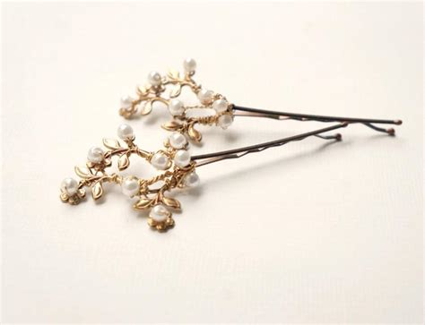 wedding hair clip pearl gold floral bridal hair pearl hair pins hair
