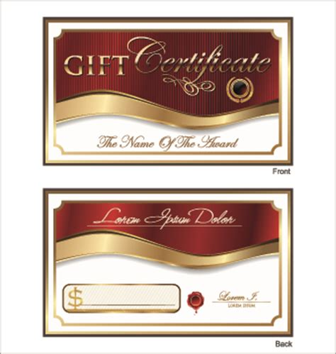 Gift Name Card Design - golden style gift certificate design vector 02 vector card free download