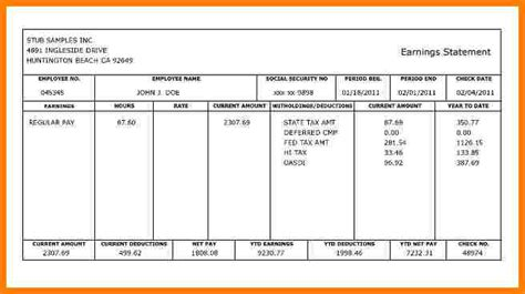 5 Fillable Pay Stub Pdf Sles Of Paystubs Paycheck Stub Template Pdf
