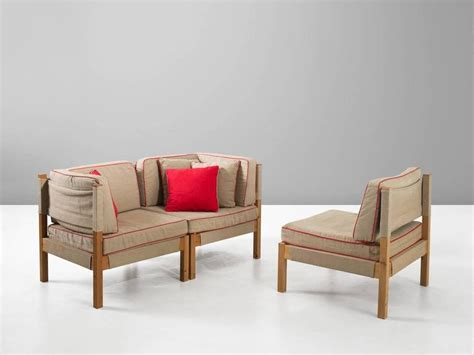 danish modular sofa danish modular sofa in natural canvas and red accents for