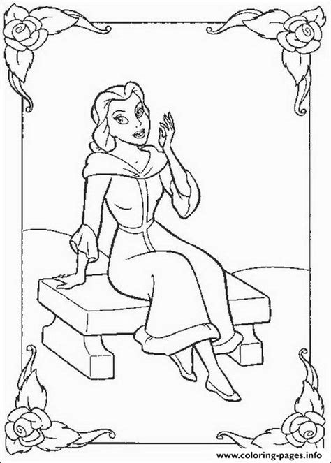 Belle Sitting In Winter Day Disney Princess 0686 Coloring Disney Princess Winter Coloring Pages Printable