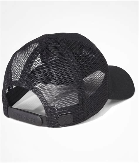 lyst express curved bill trucker hat in black for