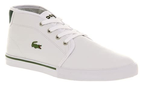 mens lacoste thill casual lace up white leather trainer