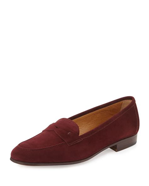 purple loafers for lyst gravati suede loafers in purple