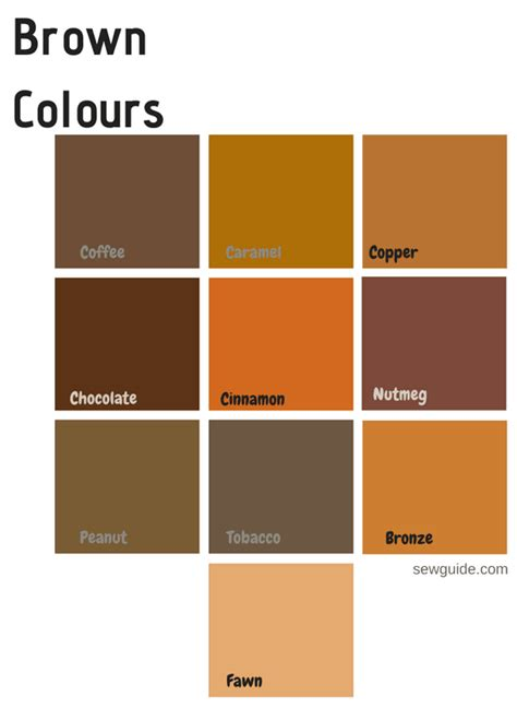 browns colors color names in fashion design an easy reference guide