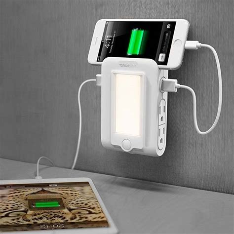Gadget Charger Organizer Light Gco Light torchstar wall mount charger with 4 ac outlets led light and phone holder gadgetsin