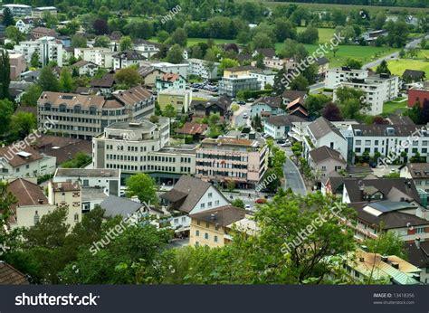 lichtenstein bank vaduz capital liechtenstein city center banks stock photo