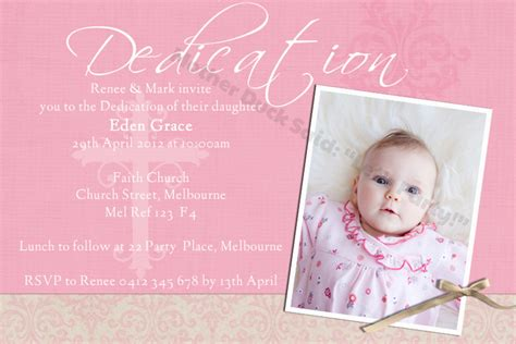 Dedication Invitation Card Template by Duck Said Quot Lets Quot Christening Baptism
