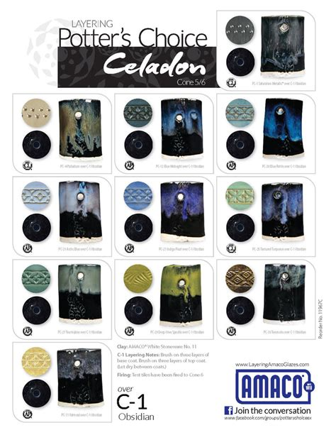 obsidian color chart c celadon high glazes glazes underglazes