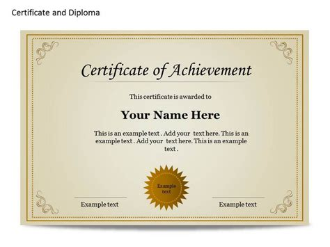 certificate diploma chart template for powerpoint