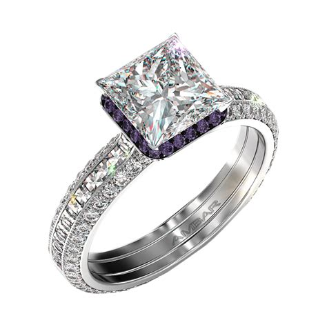 Square Engagement Rings by Silvet Blaze Engagement Ring Set For Square