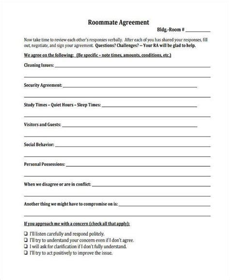 8 Sle Roommate Agreements Free Sle Exle Format Download College Roommate Contract Template