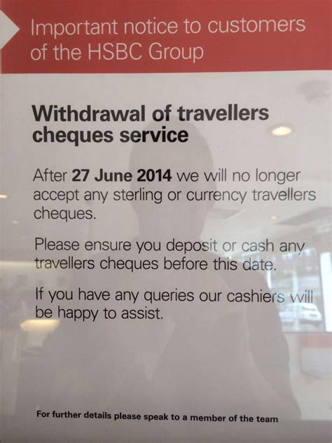 hsbc accepting travellers cheques june