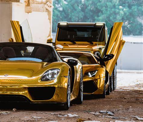 gold color cars wallpaper porsche lamborghini mercedes benz 918 aventador