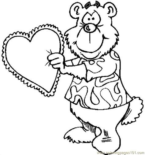 coloring page bear with heart bear with heart 6 coloring page free valentine s day