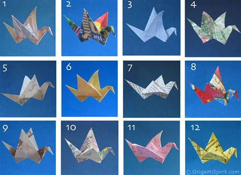 12 types of found paper to fold an origami bird which is