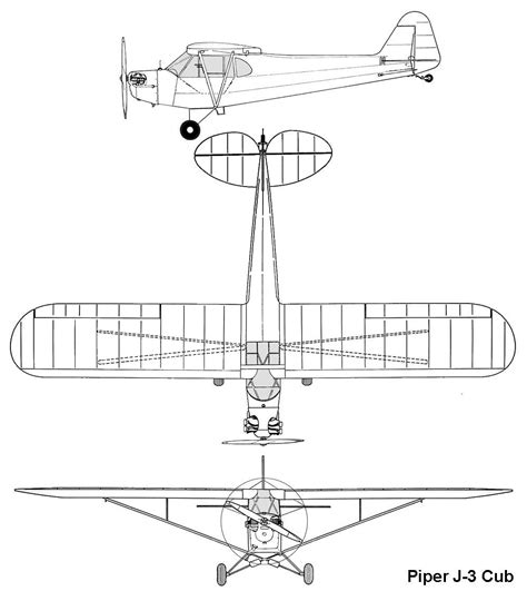 3 Drawing Views by Le Piper Cub Quot Grasshopper Quot Airborne Museum