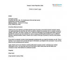 search results for vendor rejection letter sle