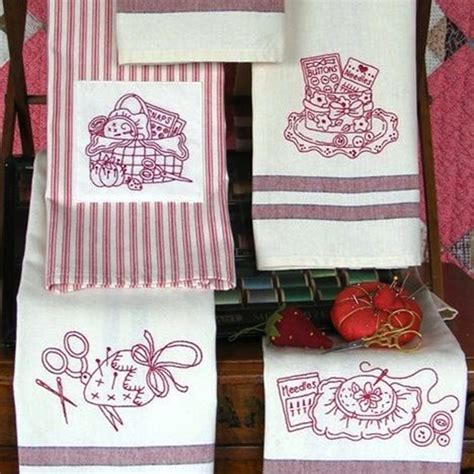 Kitchen Towel Embroidery Designs Set Of 6 Tea Towels With Embroidery Motifs