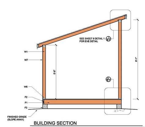 lean  shed plans  building section lean  shed