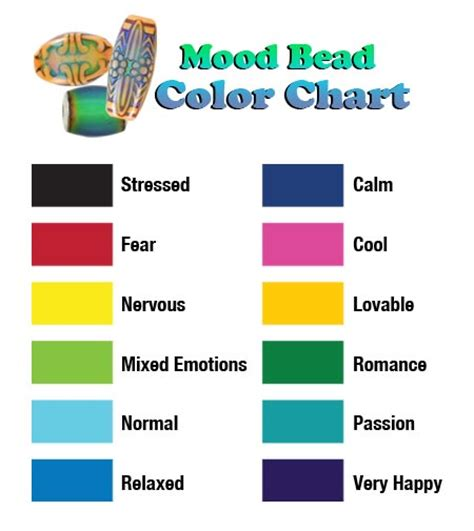 color feelings chart mood ring color meanings mood ring colors and meanings
