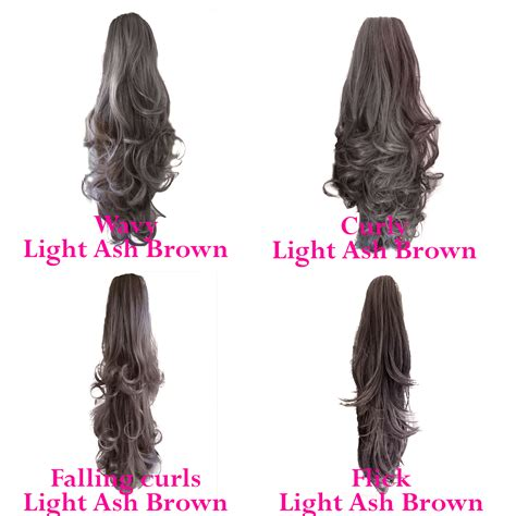 Hairclip Brown Light Brown ponytail clip in hair extensions light ash brown 10 reversible claw clip ebay