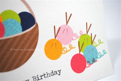 happy birthday knitting birthday card knitting wool yarn hbf106