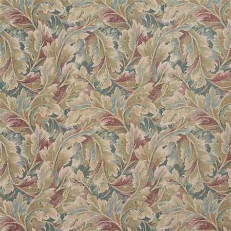Tapestry Material Upholstery by Burgundy And Green Floral Leaf Tapestry Upholstery Fabric