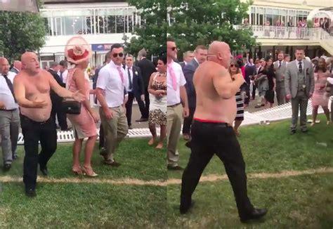 Last Day At Royal Ascot Resembles A Muddy Day At Glastonbury by Angry Dude Whips His Shirt And Starts Savage