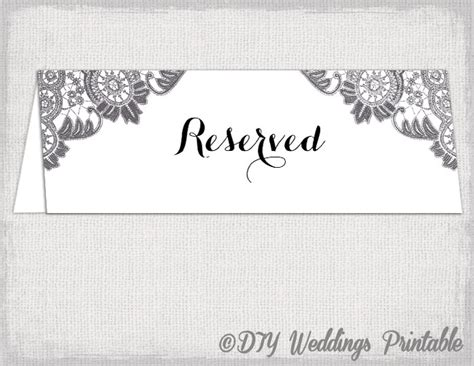 reserved table cards template reserved card template antique lace printable