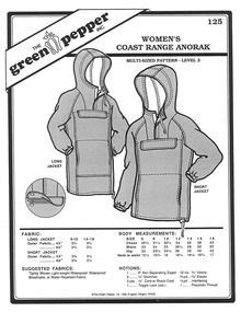 Sewing Pattern - Women's Pattern, Coast Range Anorak, Long