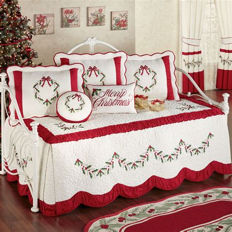 holiday comforters sets holly wreath holiday daybed bedding set