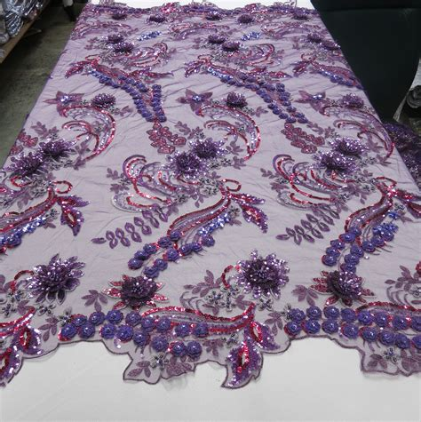 beaded fabric purple sequin fabric embroidered 3d beaded lace mesh fabric