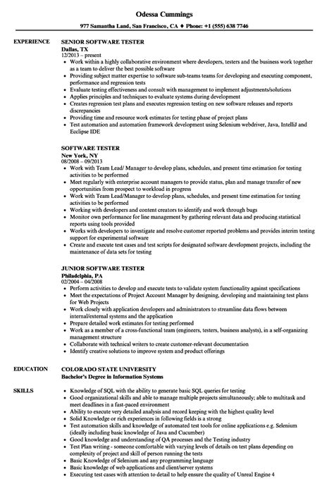 Software Tester Resume by Software Tester Resume Sles Velvet