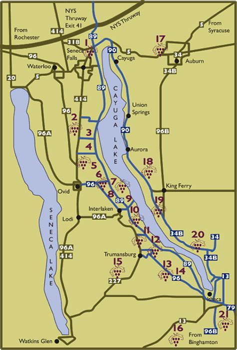 cayuga lake wine trail map wine country maps on rick s winesite mcnees org winesite