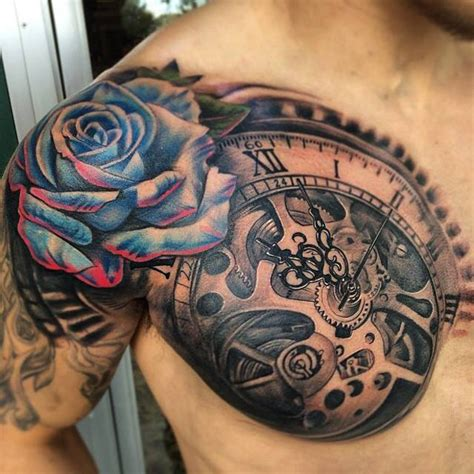 clock amp blue rose chest tattoo best tattoo design ideas