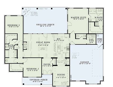 bungalow house plan with 2759 square feet and 4 bedrooms houseplans com country farmhouse main floor plan plan
