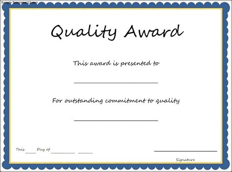 quality award certificate template sample templates