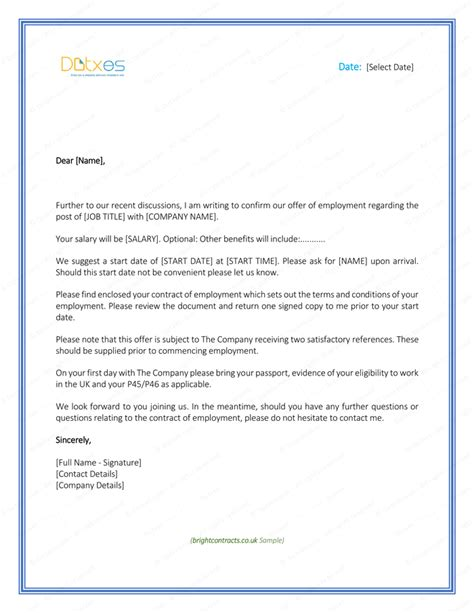 job offer letter formats sample