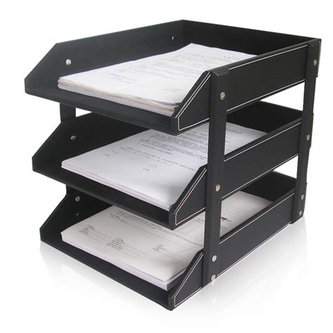 aliexpress buy 3 layer leather file document tray
