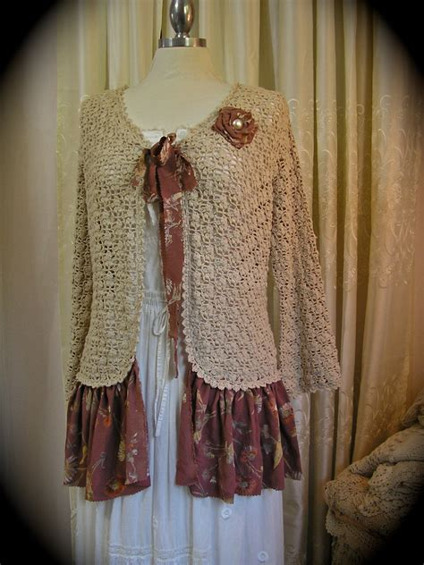 how to upcycle sweaters shabby bohemian sweater vintage cotton crochet upcycled