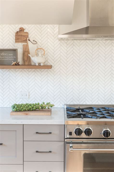 Marble Herringbone Backsplash Kitchen Floating Shelves Herringbone Kitchen Backsplash