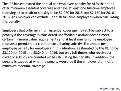 section 4980h of the internal revenue code reminders of aca changes coming up in 2016